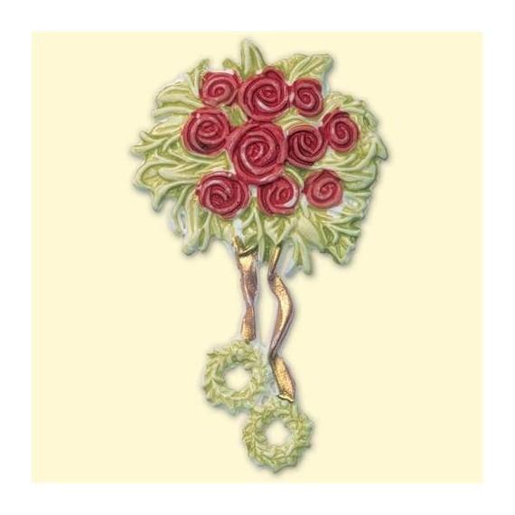 Décoration en cire Mariage - Bouquet de roses rouges