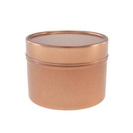 Boite ronde 100 ml en or rosé avec couvercle métallique