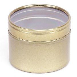 Boite ronde 100 ml couleur or avec couvercle transparent