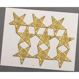 Décoration pour bougies en cire - Etoiles d'or