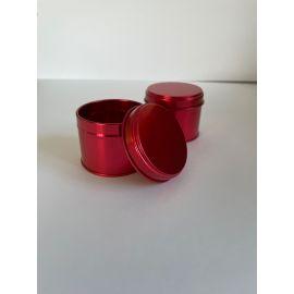 Boite ronde 100 ml rouge avec couvercle métallique