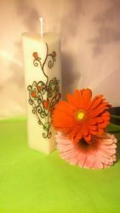Bougie décorative, peinte à la main